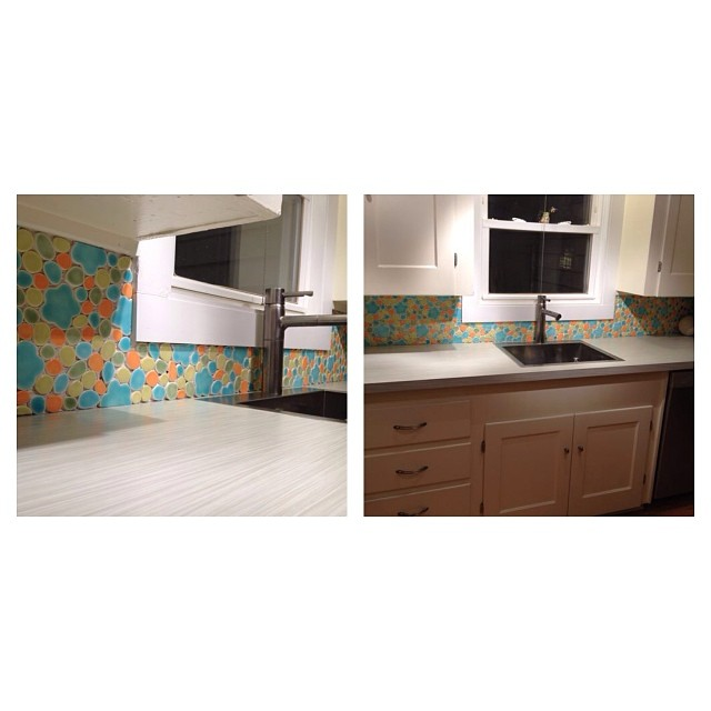 Kitchen backsplash with hand cut tile.  @leanimalzen trying to inspire. #radasch #backsplash #handmadetile