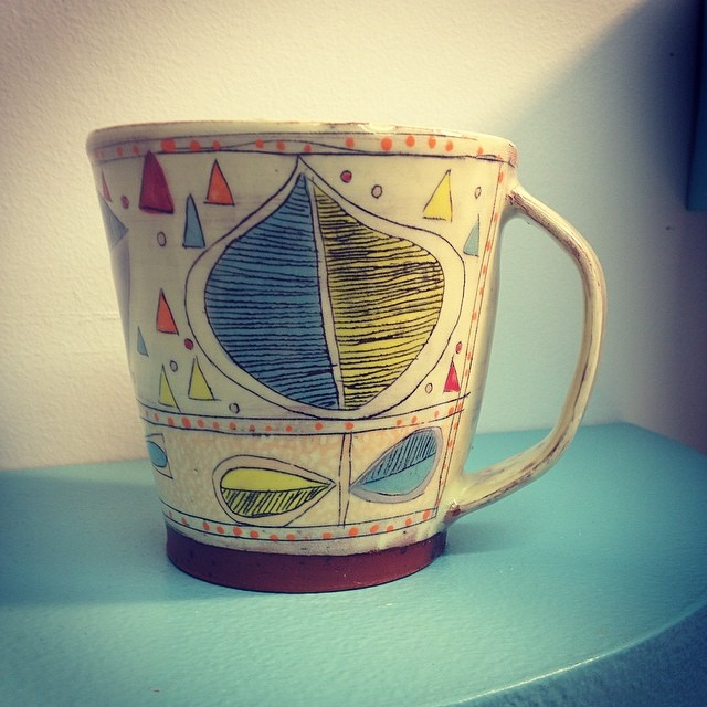 This mug and other dishes will be available for purchase during my online Mothers Day sale this coming Wednesday at noon EST. You can find my shop at www.etsy.com/shop/redware #radasch #handmadepottery #mothersday