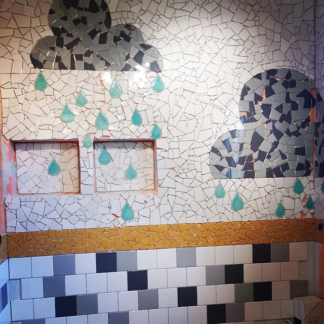 Getting so close! While I am teaching at Haystack this weekend @ianworks will be on kid patrol and late night tile duty. #radasch #showermosaic