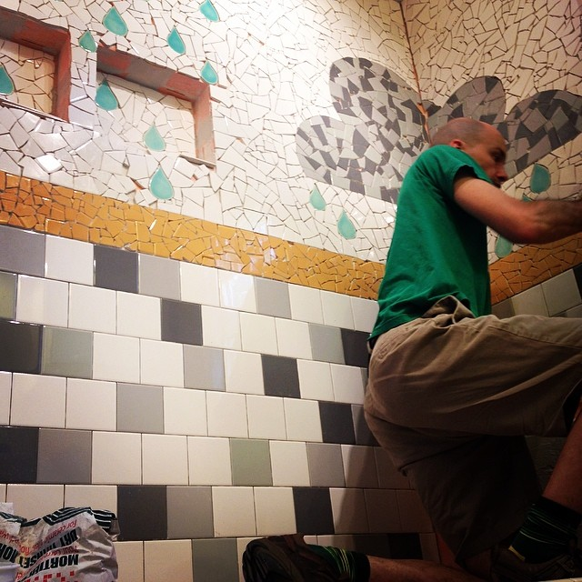 @ianworks making a run on tile. We are getting so close! #radasch #showermosaic #mosaic